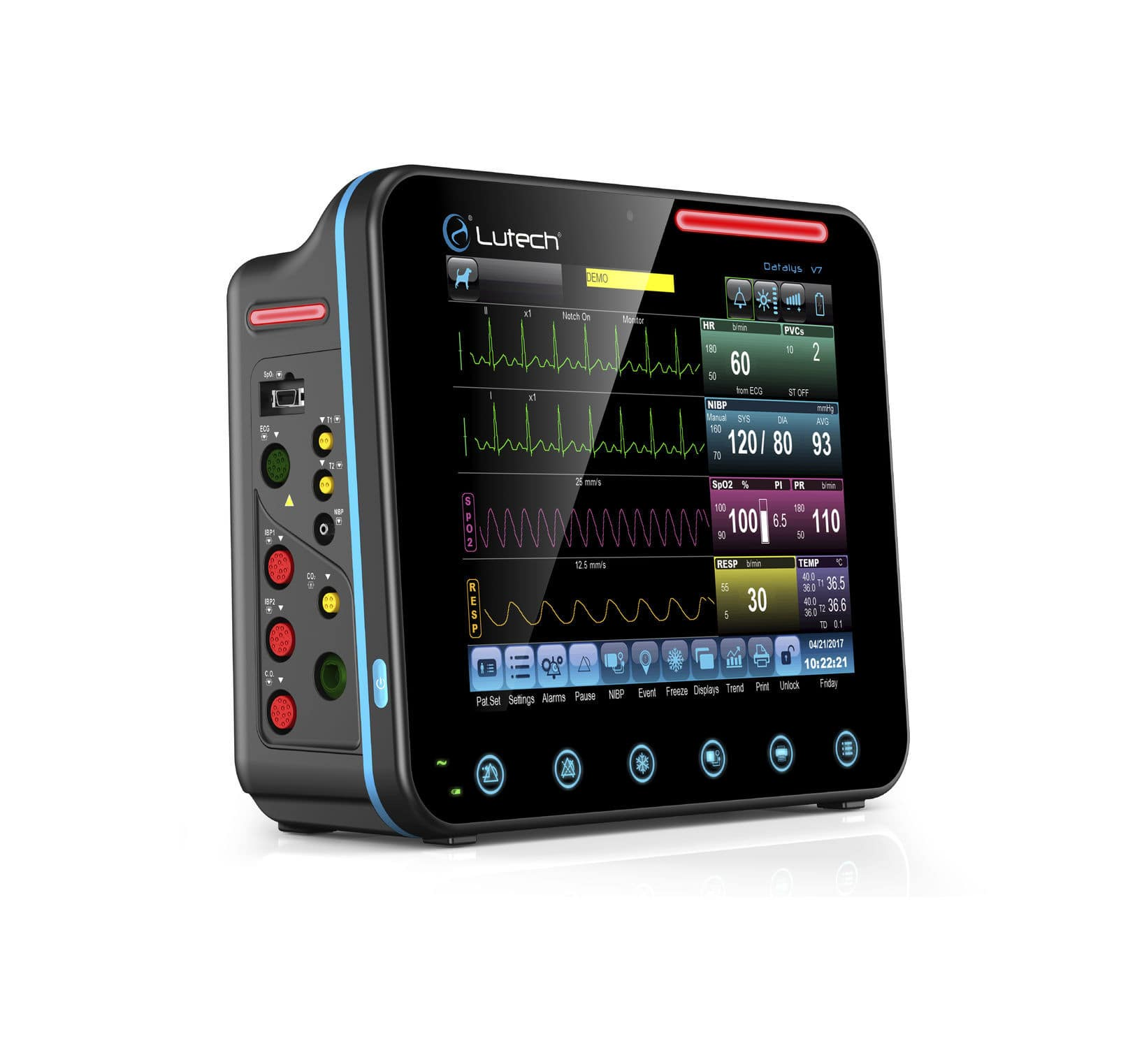 intensive care multi parameter monitor, ECG RESP temperature