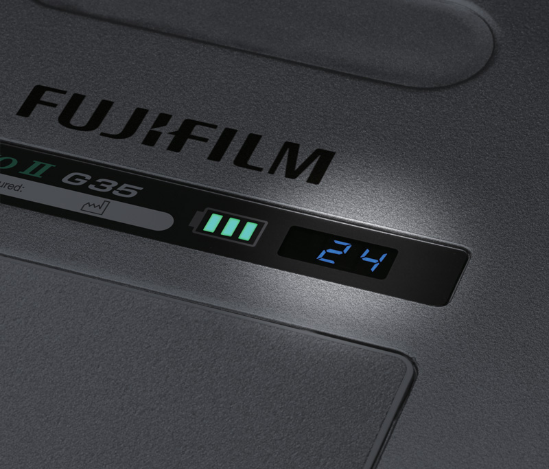 Fujifilm G35 GOS battery indicator